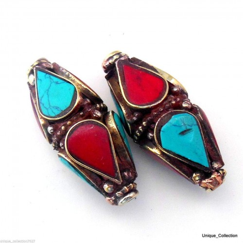 Brass Beads Inlaid with Turquoise & Coral BD-194 by www.mimosacrafts.com.au