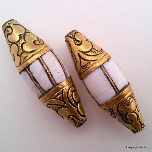 Conch Shell Brass Two Beads BD-64 by www.mimosacrafts.com.au