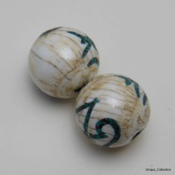 Conch Shell OM Printed Round Beads BD-105