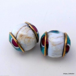 Conch Shell Turquoise Coral Brass Beads BD-197