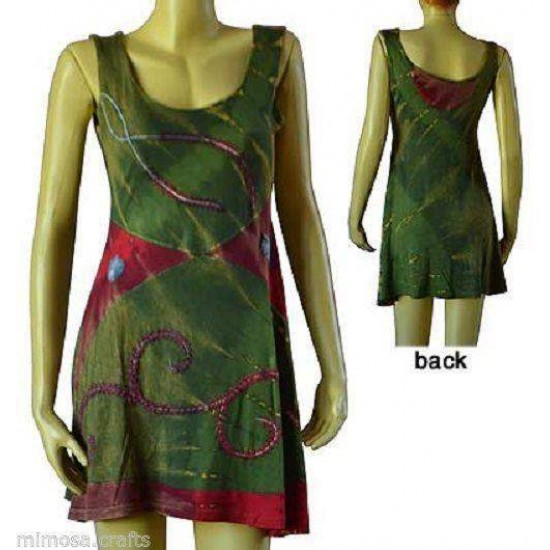 Womens Funky Embroidered & Patched Cotton Dress
