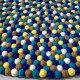100cm Royal Blue and Yellow Mix Felt Ball Rug