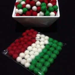 1cm Felt Balls - Christmas Colour Pom Pom