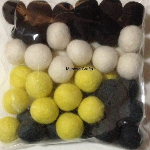 2cm Felt Balls - Black White Charcoal Yellow Mix by www.mimosacrafts.com.au