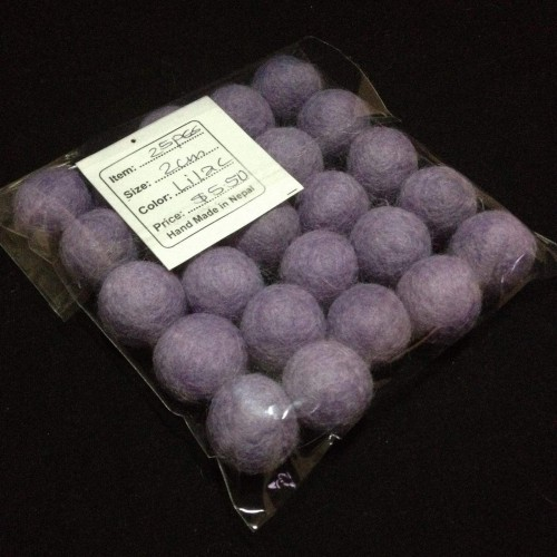 2cm Lilac Colour Felt Balls by Mimosa Crafts