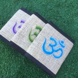 OM Embroidered Hemp Wallet