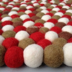 100cm Red White Khaki & Chocolate Felt Ball Rug