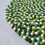 100cm Mixed Green White Aqua Felt Ball Rug