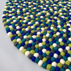 100cm Felt Ball Rug - 6 Colour combination Nursery Rug