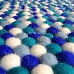 140cm Sea Breeze Square Felt Ball Rug