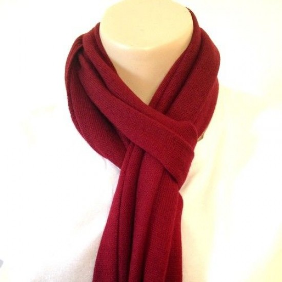 Maroon Hand-Knitted Warm Cashmere Shawl
