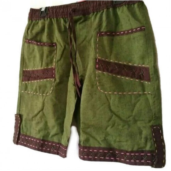 Hand Embroidered Thick Green Cotton  Shorts