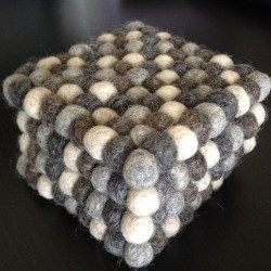 Natural Colour Square Felt Ball Coasters