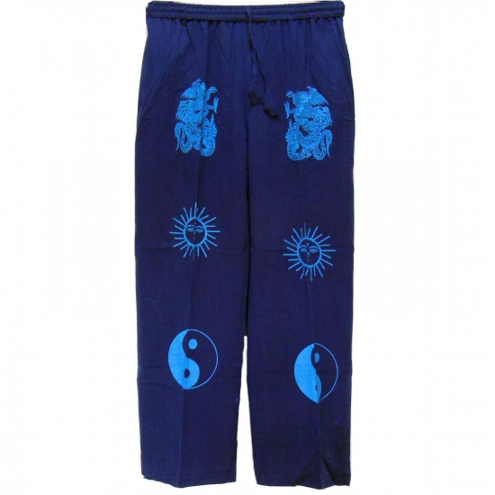 Dragon Sun and Yingyang Printed Light Cotton Navy Trouser