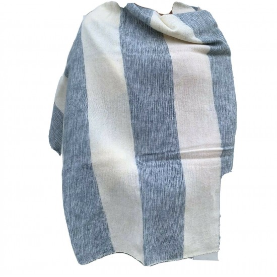 Women's Yak Wool Shawl - Grey and White Stripe Body Wrap