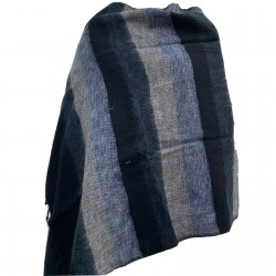 Women's Yak Wool Shawl - Black, Grey and Brown Stripe Body Wrap