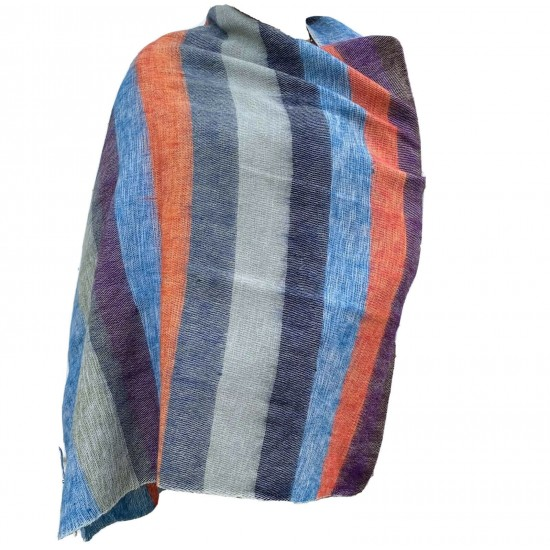 Women's Yak Wool Multi-striped Shawl